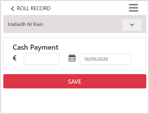 club payments record keeping application